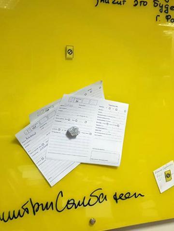 Магнитно-маркерная доска в офисе