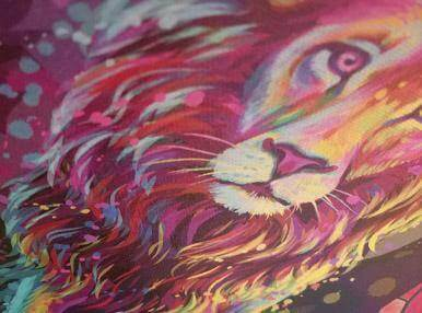 Лев на холсте ламонд