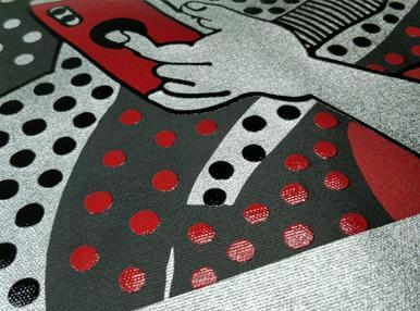 Печать картины на серебряном холсте с выборочным лакированием